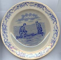 """Boness Pottery """"Canadian Sport"""" pattern, exported to Canada"""