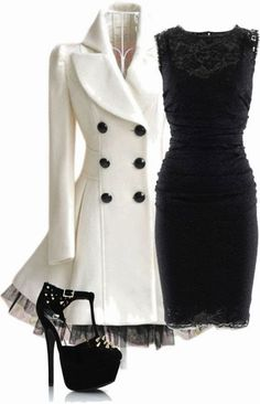 Stylish white trench coat, black dress but not the high heels.