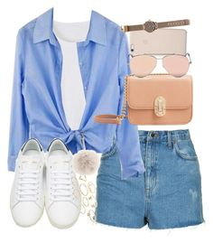 """""""Outfit for summer with denim shorts and sneakers"""" by ferned ❤ liked on Polyvore featuring Topshop, Yves Saint Laurent, MANGO, Black Apple, Alexander McQueen, Charlotte Russe, Fendi and Witchery"""