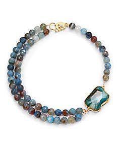 Janna Conner - Kelsey Agate Necklace/Blue $110