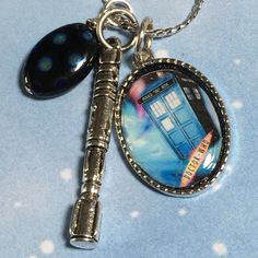 DR WHO,  with Screwdriver charm, Altered art Charm Necklace,  handmade, OOAK…