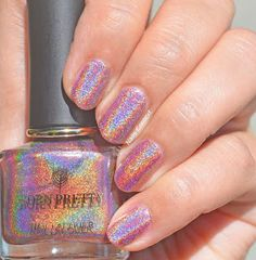 Nails Context: Born Pretty Store | Holographic Polish- 2 coats: Born Pretty- Heart of Cupid (light pink polish with rainbow linear holo) Flag Nails, 3d Nails, Galaxy Nails, Holographic Nails, Pink Polish, Nail Polish, Fruit Nail Art, Fun Lacquer, Born Pretty Store
