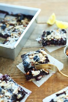 Almond Blueberry Pie Bars: with a cookie pie Crust and 2-ingredient glaze.