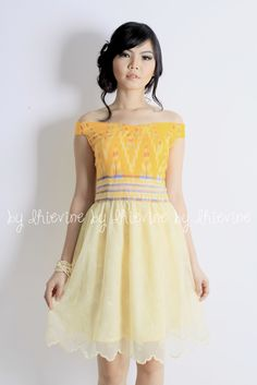 Ikat dress | Kebaya Dress | Off shoulder dress |Nilam Endek Yellow Dress | DhieVine | Redefine You
