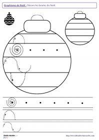 Graphisme sur le thème de Noël 22 fiches de graphisme sur le thème de Noël, pour les élèves de maternelle (moyenne section et grande section). Plusieurs notions travaillées, telles que les lignes verticales, les lignes horizontales, les ponts, les pics, les ronds, les spirales et l'écriture de mots en capitale.