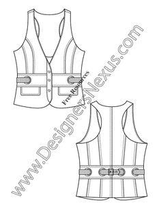 V22 Belted Racerback Vest Flat Fashion Sketch Templatel