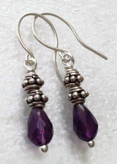 Amethyst earrings sterling jewelry February gem by TheMagpieCrone