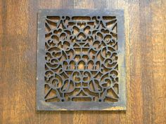 Flower and Urn Vent Cover, Ornate Register Cover, Victorian Cast Iron Grate, Antique Grate, Flowers Vase Pattern