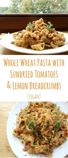 Whole Wheat Pasta with Sundried Tomatoes and Lemon Breadcrumbs - creamy, vegan and a healthier spin on a staple comfort food | curlsnchard.com