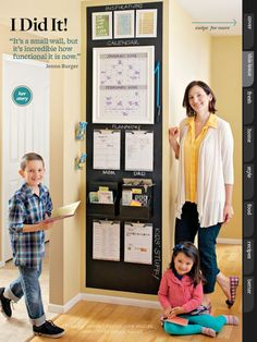 Here's a compact, functional command center for organizing everybody's information. -- Small-Space Command Center: Better Homes and Gardens. Organization Station, Home Organisation, Life Organization, Kitchen Calendar Organization, Family Organization Wall, Bathroom Organization, Command Center Kitchen, Family Command Center, Command Centers