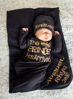 Prince Has Arrived newborn boy black and by TheNewBabyBoutique