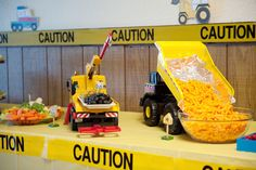 Construction Party, great photos and multiple ideas on website. A fun way to easily decorate for a party for both kids and adults.