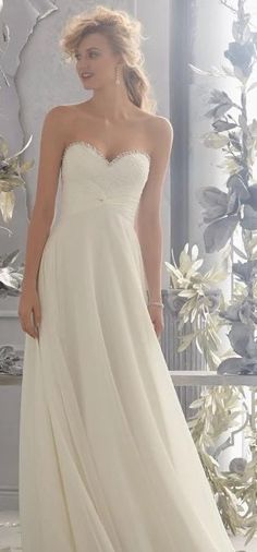 Chiffon Sheath A line Wedding Gown with Criss-Cross wrapped Empire Waist