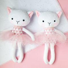 Cat rag doll – Plush cat toy – Handmade cat doll – Heirloom doll – plush doll – Cloth Doll – Fabric Cat Doll – Stuffed doll – with a tutu Sock Dolls, Felt Dolls, Plush Dolls, Handmade Toys, Etsy Handmade, Sewing Crafts, Sewing Projects, Fabric Toys, Minky Fabric
