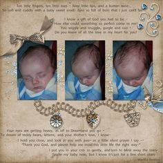 Off to Dreamland by Michell Pieters.   Credits: Glimmer by Kathryn Estry Great way to showcase baby photos