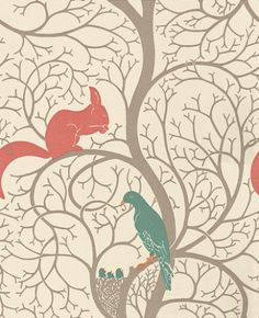 Squirrel & Dove (DVIWSQ102) - Sanderson Wallpapers - A faithful reproduction of an original C F A Voysey wallpaper design, with charming squirrel and doves set in a stylized tree. Available in 3 colourways, shown in the teal and red. Please request a sample for true colour match.