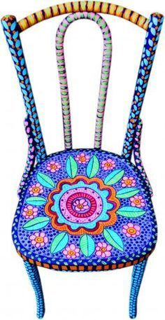 gypsy painted chairs | Day of the Dead Style Hand Painted Chair