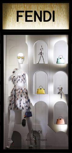The Fendi window theme 'Traces of Palazzo della Civiltà Italiana' at the Milan boutique