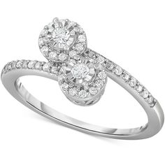 Diamond Bypass Promise Ring (1/4 ct. t.w.) in Sterling Silver (£245) ❤ liked on Polyvore featuring jewelry, rings, silver, sterling silver diamond jewelry, round diamond cluster ring, round ring, sterling silver jewelry and sterling silver rings