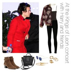 """At the Kings of Leon concert with Harry and friends"" by thetrendpear-eleanor ❤ liked on Polyvore featuring Citizens of Humanity, Yves Saint Laurent, Illesteva, CÉLINE, Apt. 9, ERTH, Alexander McQueen and Cartier"