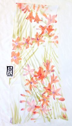 Silk Scarf Handpainted Japanese Silk Scarf by SilkScarvesTakuyo