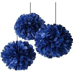HEARTFEEL 8pcs Big Size Navy Blue Tissue Paper Pom-poms 14inch 12inch Mixed Sizes Flower Ball Hanging Pom Wedding Party Outdoor Decoration Wedding Nursery Decorations Bridal Shower Party Room Decor