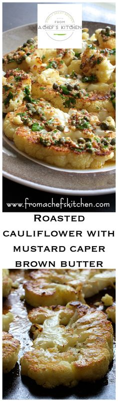 Roasted Cauliflower with Mustard Caper Brown Butter elevates roasted cauliflower to an elegant side dish perfect for your next dinner party! Low Carb Side Dishes, Side Dish Recipes, Vegetable Recipes, Vegetarian Recipes, Dinner Recipes, Cooking Recipes, Healthy Recipes, Veggie Meals, Donut Recipes