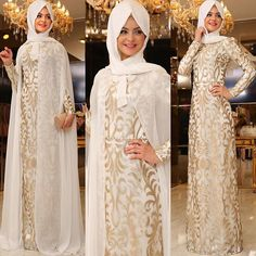Image may contain: 3 people Bridal Hijab, Muslim Wedding Dresses, Muslim Dress, Islamic Fashion, Muslim Fashion, Modest Fashion, Abaya Designs, Abaya Fashion, Muslim Women