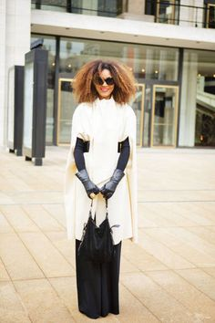 Black and white with serious statement hair #NYFW #streetstyle