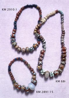 Glas beads, 30 pieces. Found in Vöyri, Maksamaa, in Western Finland. From Merovingian Period (550-800).