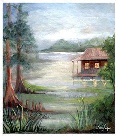 Foggy Louisiana Bayou Scene Art Print from Original Artwork Louisiana Bayou, Little Cabin, Cabins In The Woods, Easy Paintings, Landscape Art, Original Artwork, Scene, Art Prints, Wall Art