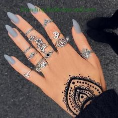 Brown Red Fake Nails Matte Metal Manicure French Long Design Full Cover False Nails with Metal Side Nail Tips - Cute Nails Club Gorgeous Nails, Pretty Nails, Amazing Nails, Acrylic Nail Designs, Nail Art Designs, Nails Design, Acrylic Nail Shapes, Nail Designs Pictures, Nail Art Blanc
