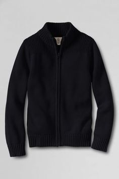School Uniform Boys' Performance Zip-front Rib Cardigan Sweater from Lands' End