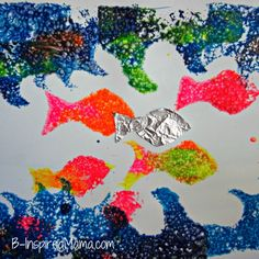 Sponge Painted Sea Life Art inspired by children's book: Questions, Questions from Marcus Pfister. From B-InspiredMama.com