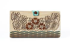 Fashionable womens 2 sides hand bag , made with plywood & silk,- great gift for any occasion especially for Christmas! Beautiful Art Nouveau style flowers are inlaid with brown wood. If you wish to order in different fabric color please write me a massage.