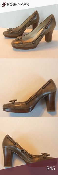 """Cole Haan Collection Leather Platform Pumps Gorgeous Mocha leather with braided leather cord threaded through eyelets and fixed at the vamp with a leather terminal. Stacked 3-1/2"""" heel and 1/2"""" platform. Only worn several times. The insoles have residue from sole inserts as shown in one of the photos. Otherwise extremely good gently worn condition. 7-1/2B Cole Haan Shoes Platforms"""