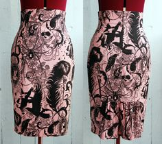 High waist wiggle pencil skirt Halloween par OceanfrontBoutique
