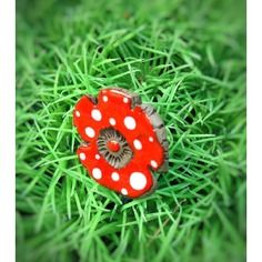 Bague fleur en céramique émaillée petits pois