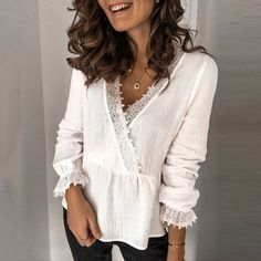 Large size sexy lace women blouses 2020 summer new blouses tops solid color V-neck long sleeve women shirts Chiffon Shirt, Ruffle Blouse, Estilo Fashion, V Neck Blouse, Plus Size Blouses, Pattern Fashion, Types Of Sleeves, Tees, Blouses For Women