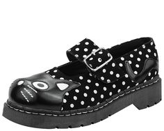 Picture of T2210 Black & White Suede Polka Dot Mary Janes