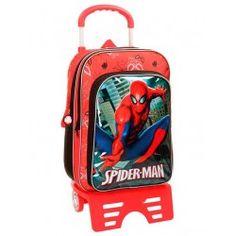 Mochila con carro Spiderman City 40cm 2 compartimentos