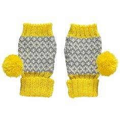 Miss Pom Pom  Yellow Graphic Fingerless Gloves: These Miss Pom Pom Knitted Yellow Graphic Fingerless Gloves have a grey and white jacquard knit section, a chunky yellow ribbed hem, bright yellow tip and playful yellow pom poms!  Wrist warmers are ideal for covering up when it's too cold to bear, so better to do it style! Great for adding a pop of colour on a dreary day.  These fingerless gloves have been lovingly made from 100% acrylic which is hypoallergenic and super soft. Take care when…