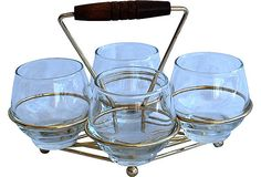 Midcentury Caddy w/ 4 glasses ~ We're on the lookout for sets like this.