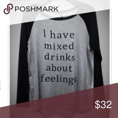 """🆕ARRIVAL! I have mixed drinks about feelings top Made in USA Material: 95% Rayon, 5% Spandex Soft and comfy material, Material has stretch Fits true to size with a little loose fit Slight High low hem New without tags   Measurements:  Small Armpit to Armpit: 19"""" Length front and back: 25"""" and 26""""  Medium Armpit to Armpit: 20"""" Length front and back: 25.5"""" and 26.5""""  Large Armpit to Armpit: 21"""" Length front and back: 25.5"""" and 26.5"""" Pink Peplum Boutique Tops Tees - Long Sleeve"""