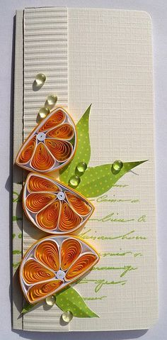 quilling- luv the orange slices. Origami And Quilling, Quilled Paper Art, Quilling Paper Craft, Paper Crafts, Quilling Patterns, Quilling Designs, Quilled Creations, Paper Magic, Quilling Techniques