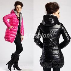 NEW Womens Warm Hoodie Winter Jacket Long Down Coat Zip Parka Outerwear 2 COLORS