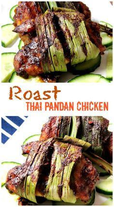 Roast Thai Pandan Chicken Recipe | nomsieskitchen.com Roasted instead of deep fried!
