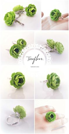 Treeoflove, handmade paper jewelry, cricket flower ring and earring