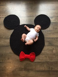 Chunky Mickey Mouse Inspired Nursery Rug Handmade Crocheted Ready To Ship Made in the USA