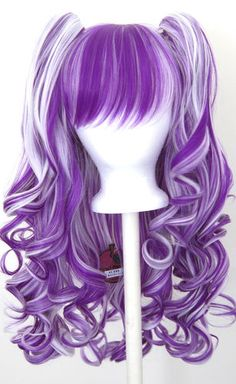 Wig Gothic Lolita + 2 Pig Tails Set White and Purple Mixed Special… Costume Wigs, Cosplay Wigs, Cosplay Hair, Cosplay Costumes, Gothic Hairstyles, Wig Hairstyles, Kawaii Wigs, Diy Wig, Dying Your Hair
